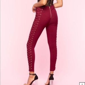 Wine color lace up pants